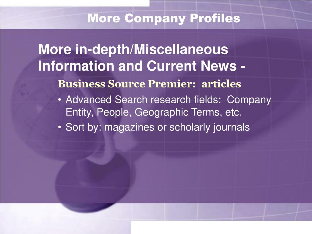 More Company Profiles