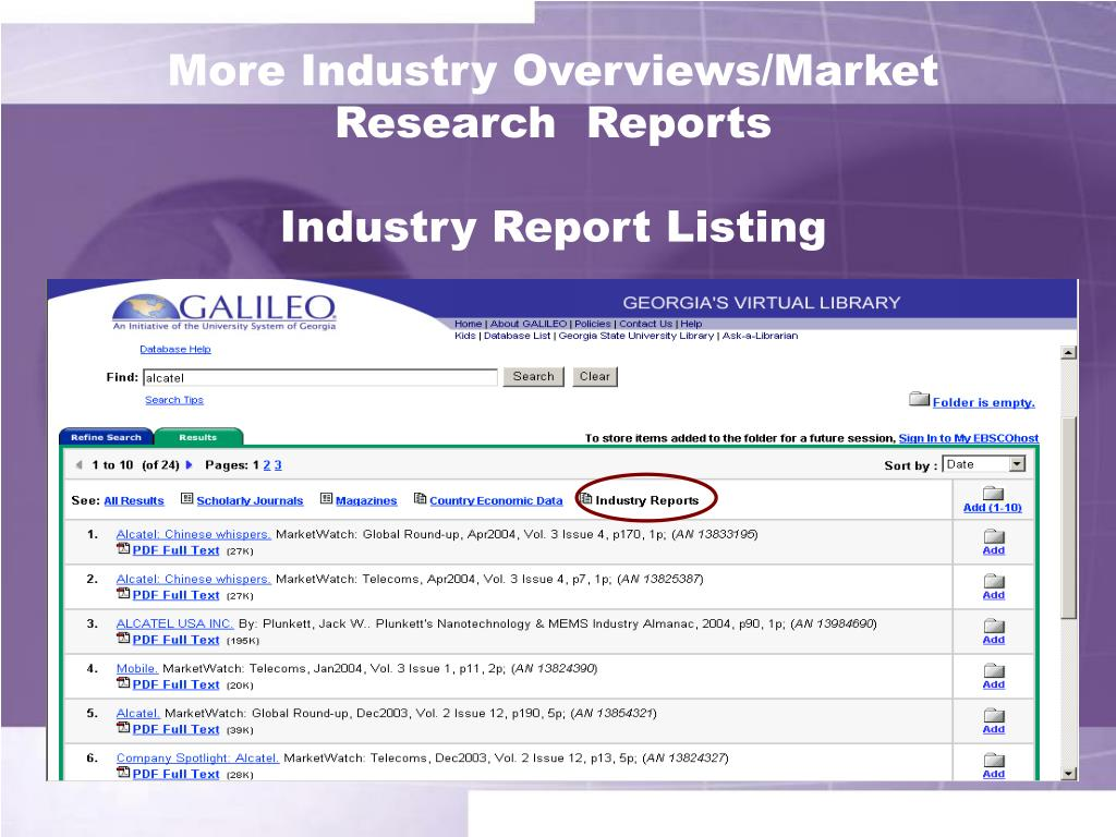 More Industry Overviews/Market Research  Reports