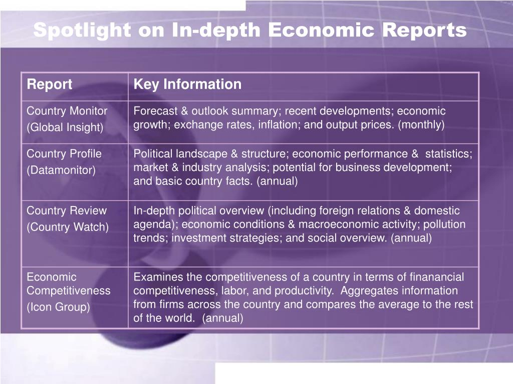 Spotlight on In-depth Economic Reports