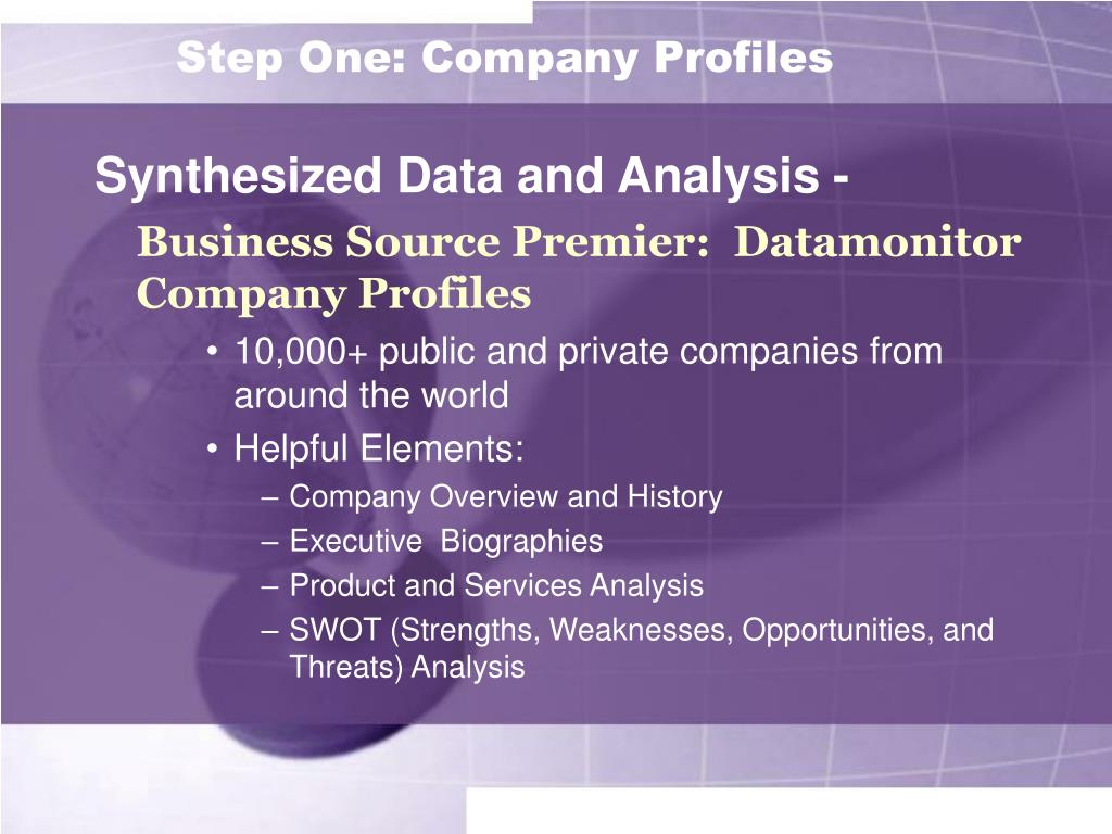 Step One: Company Profiles