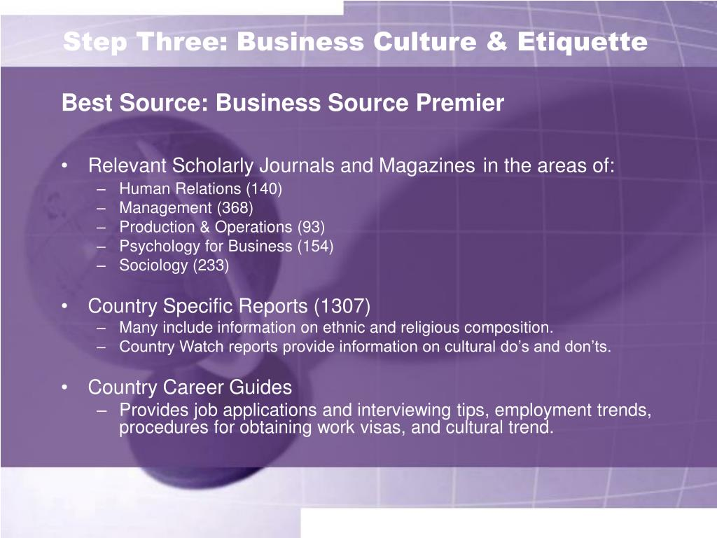 Step Three: Business Culture & Etiquette
