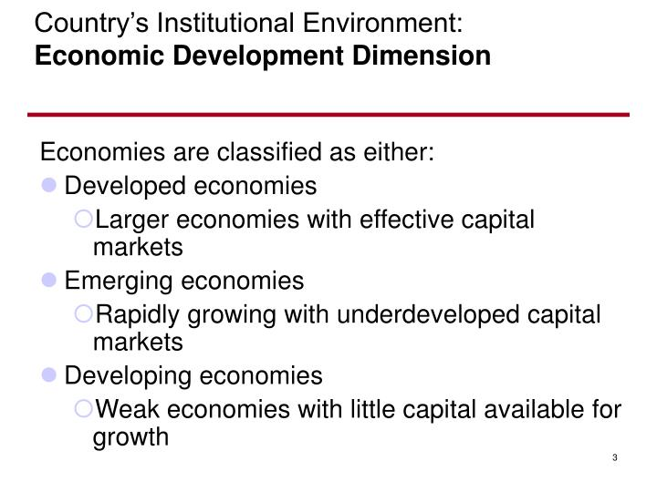 Country s institutional environment economic development dimension
