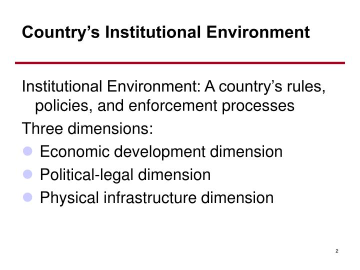 Country s institutional environment