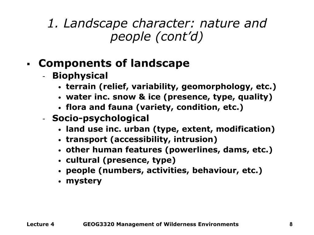 1. Landscape character: nature and people (cont'd)