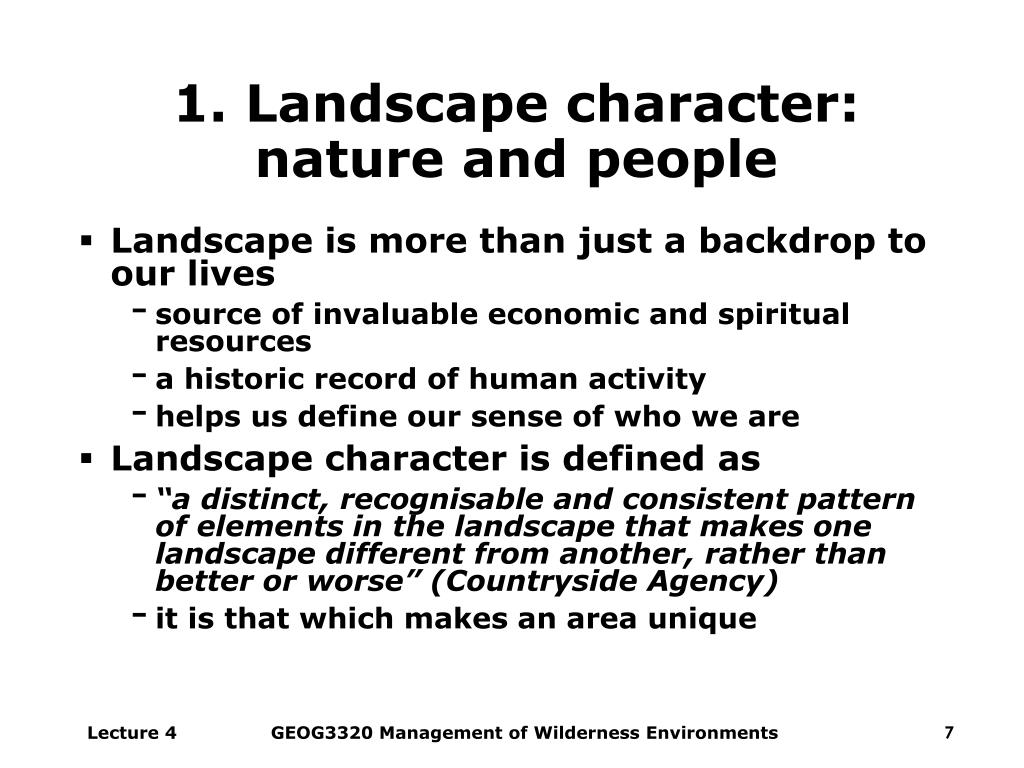 1. Landscape character: nature and people