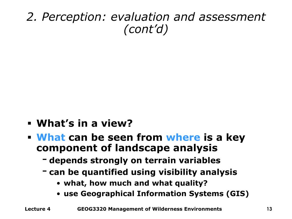 2. Perception: evaluation and assessment (cont'd)