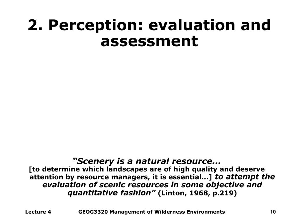 2. Perception: evaluation and assessment