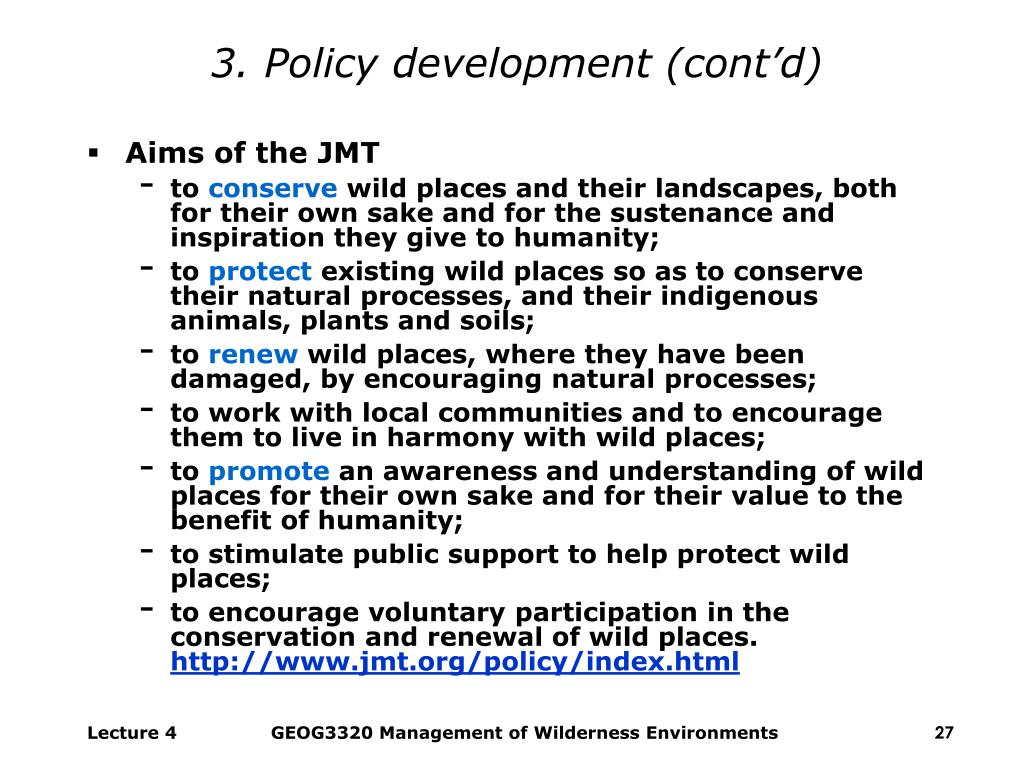 3. Policy development (cont'd)