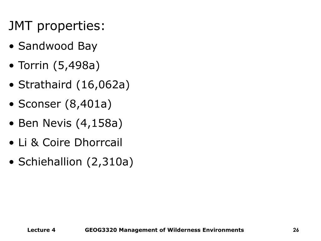JMT properties: