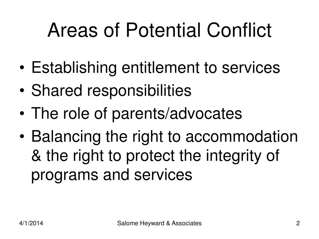 Areas of Potential Conflict