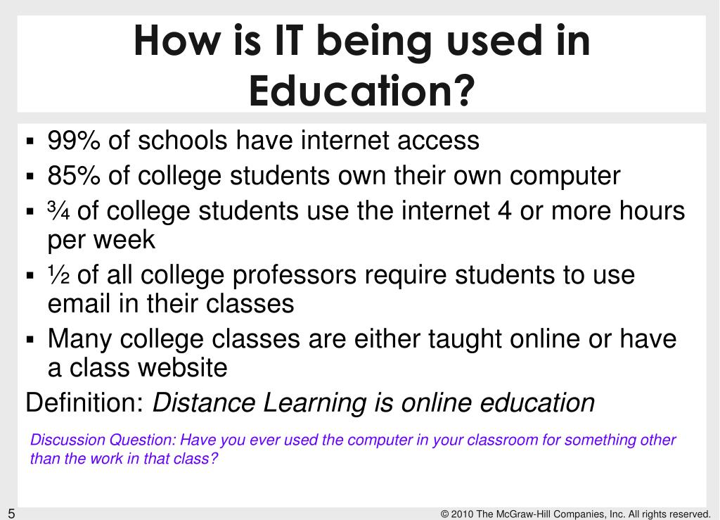 How is IT being used in Education?