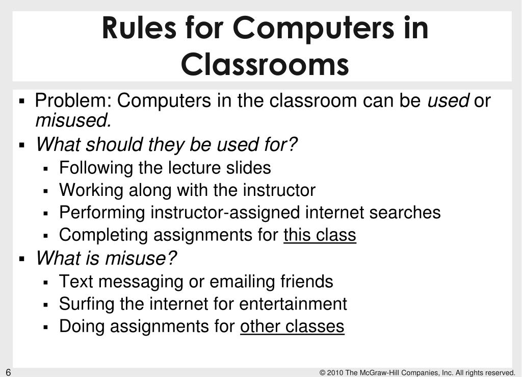 Rules for Computers in Classrooms