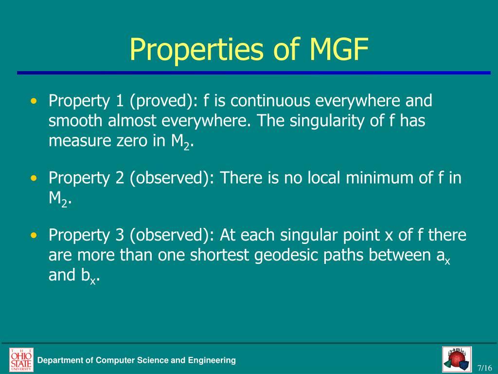 Properties of MGF