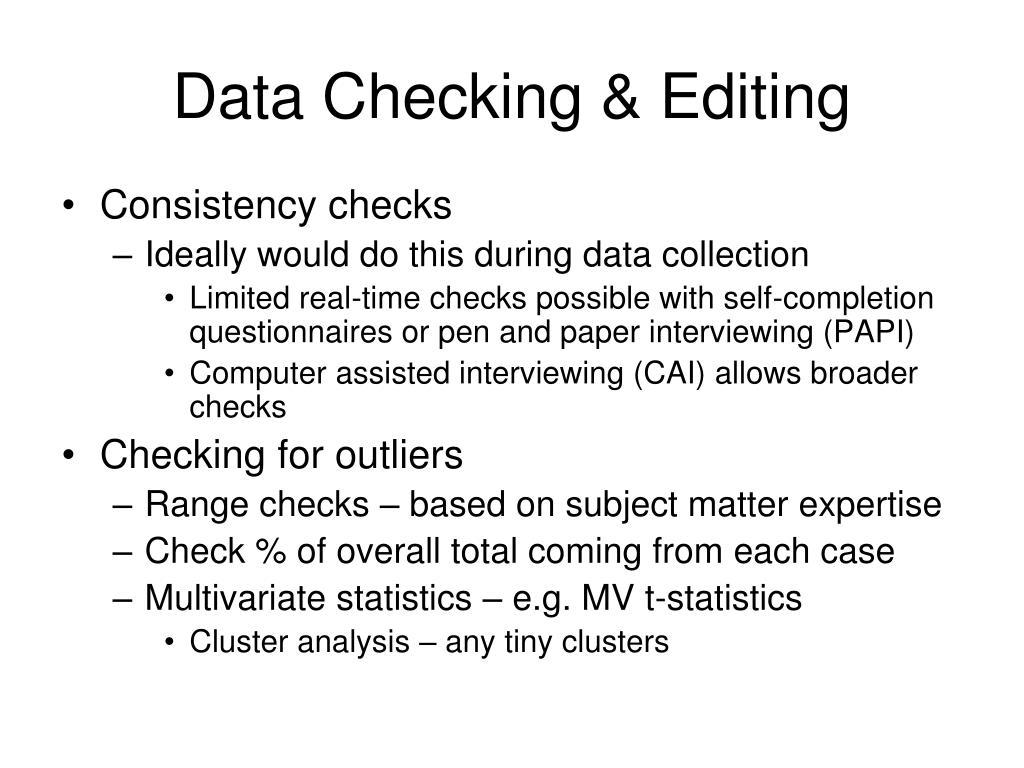 Data Checking & Editing