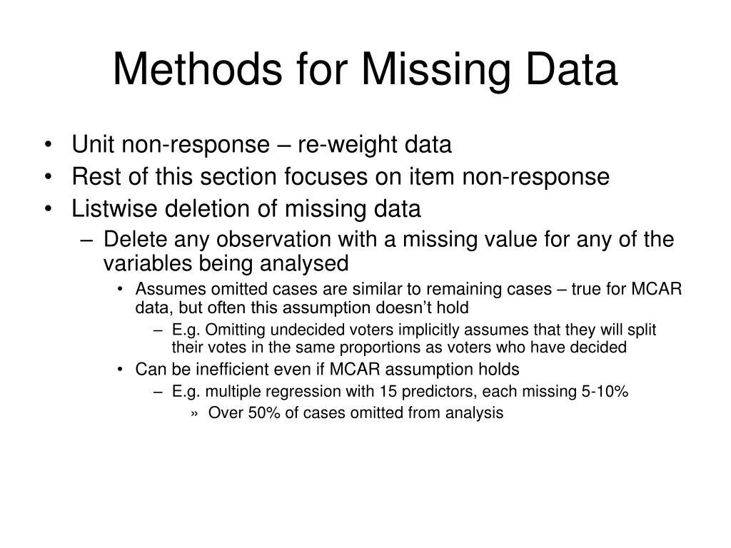 Methods for Missing Data