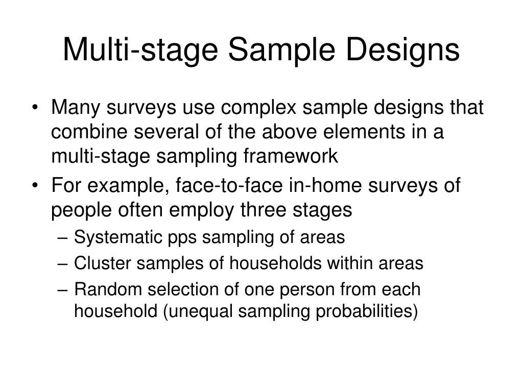 Multi-stage Sample Designs