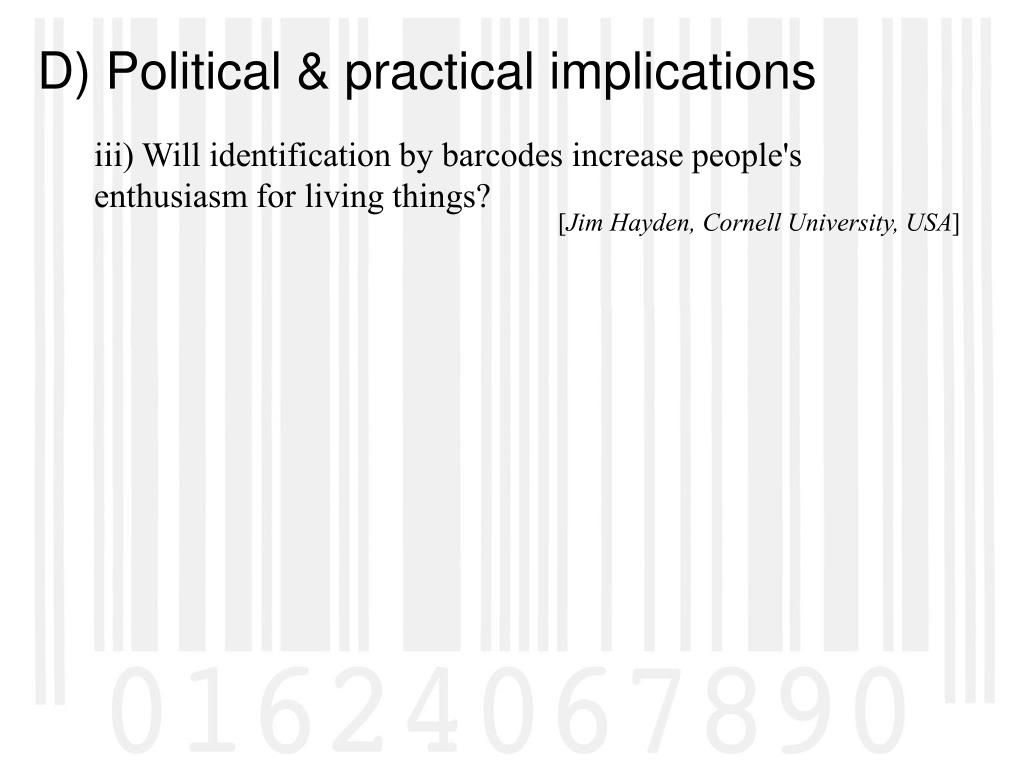 iii) Will identification by barcodes increase people's enthusiasm for living things?