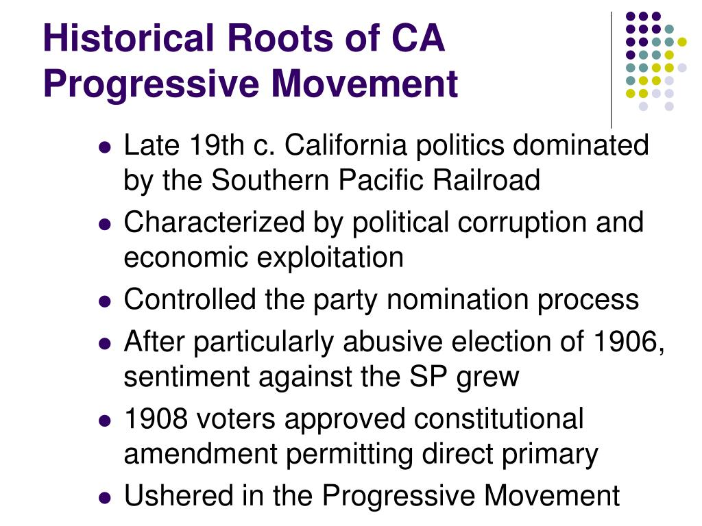 Historical Roots of CA Progressive Movement