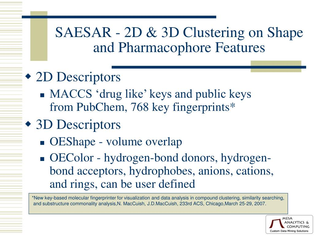 SAESAR - 2D & 3D Clustering on Shape and Pharmacophore Features