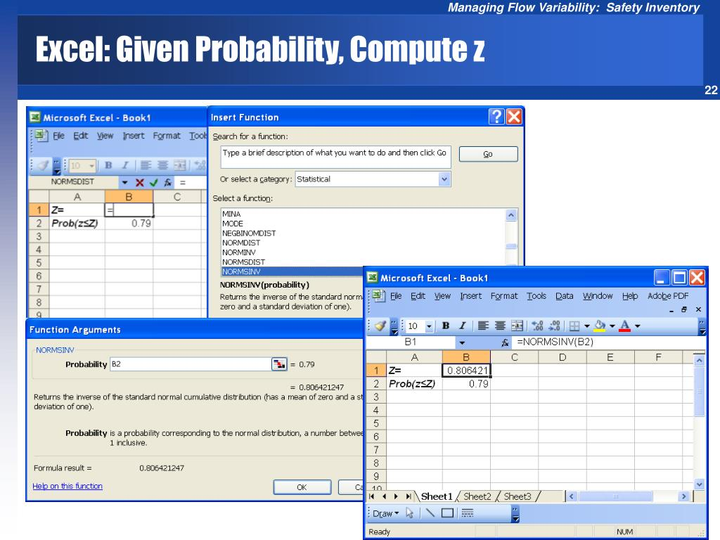 Excel: Given Probability, Compute z