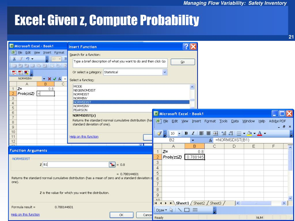 Excel: Given z, Compute Probability