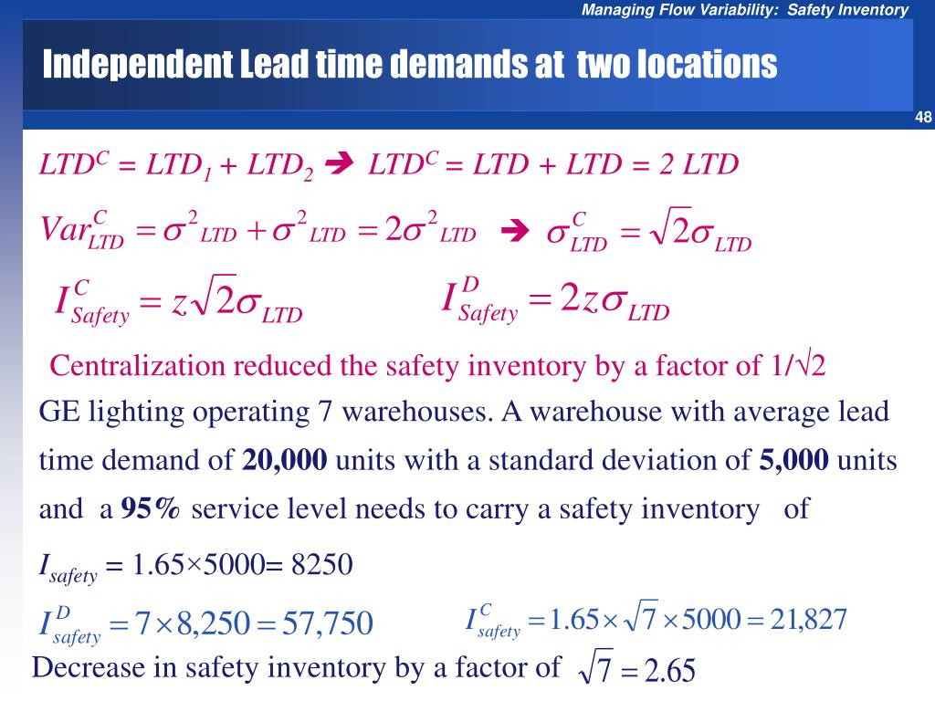 Independent Lead time demands at  two locations