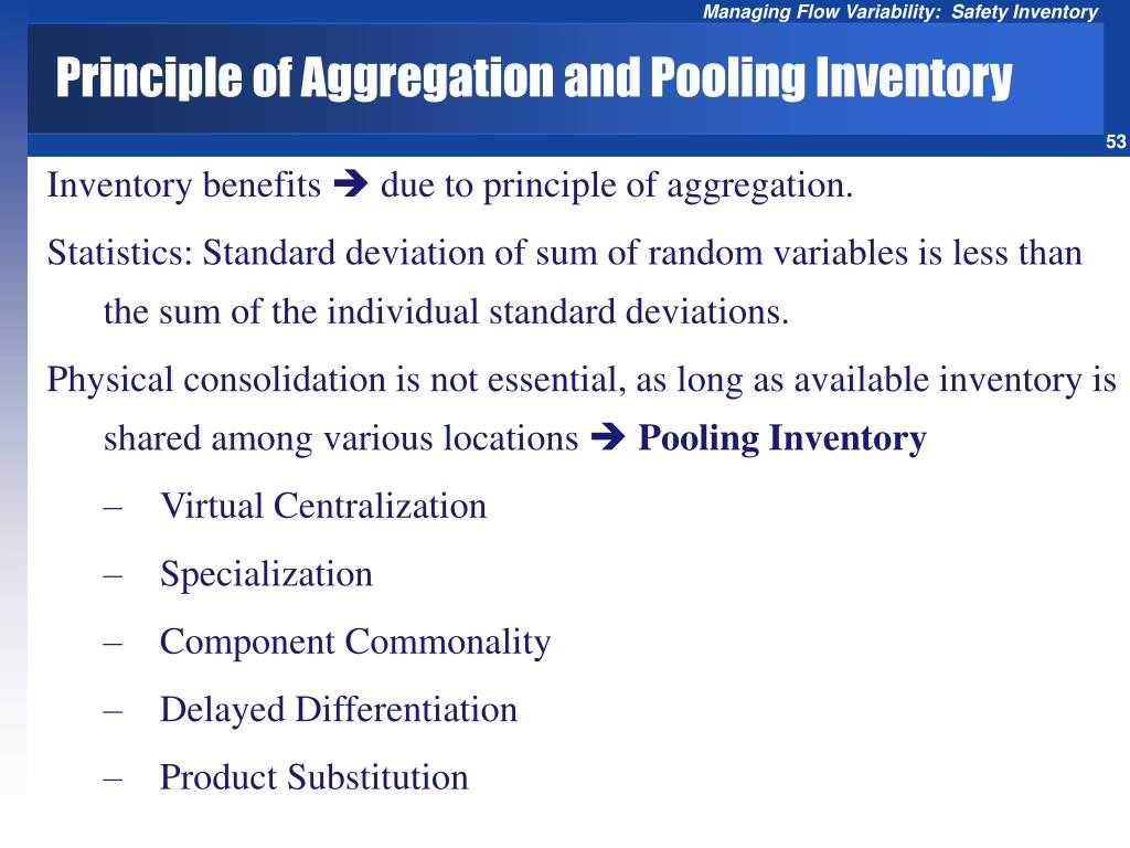 Principle of Aggregation and Pooling Inventory