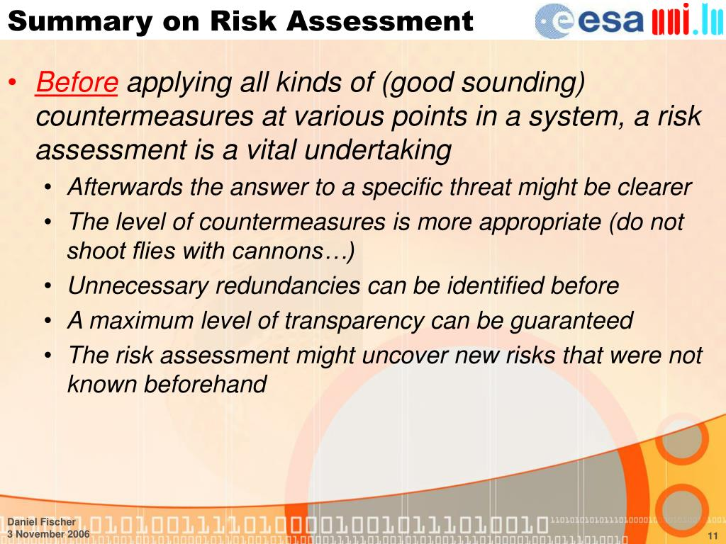 Summary on Risk Assessment