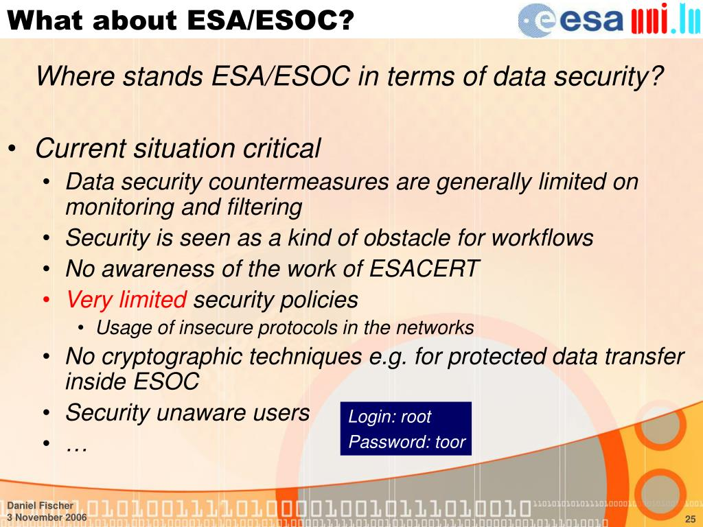 What about ESA/ESOC?