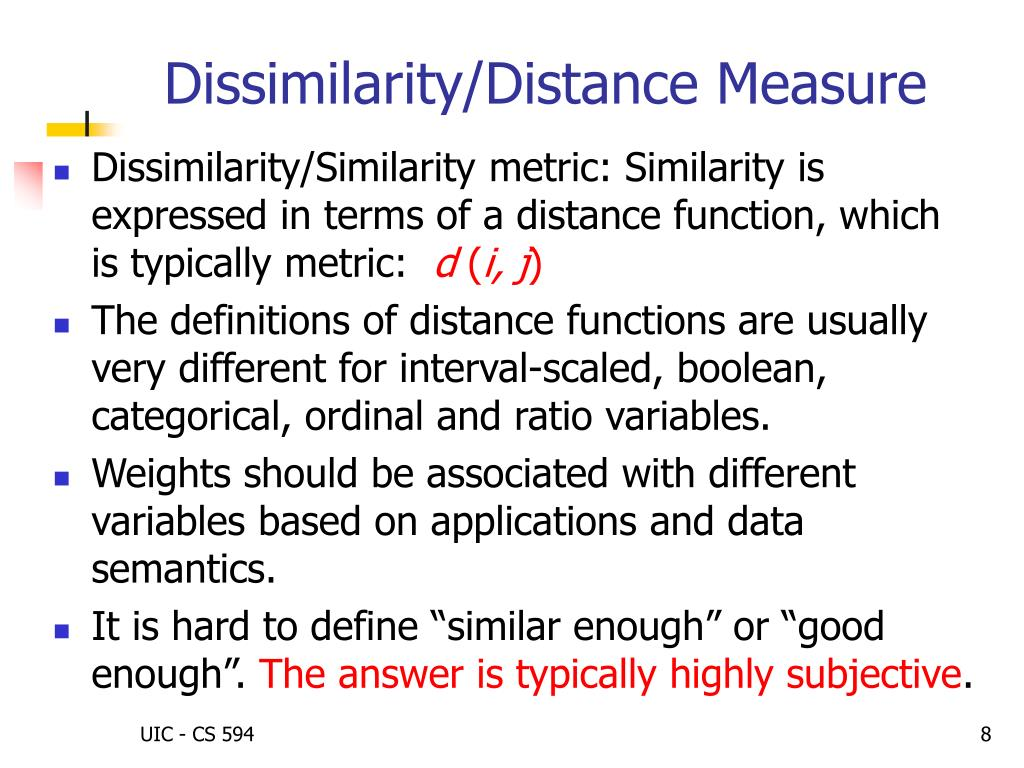 Dissimilarity/Distance Measure
