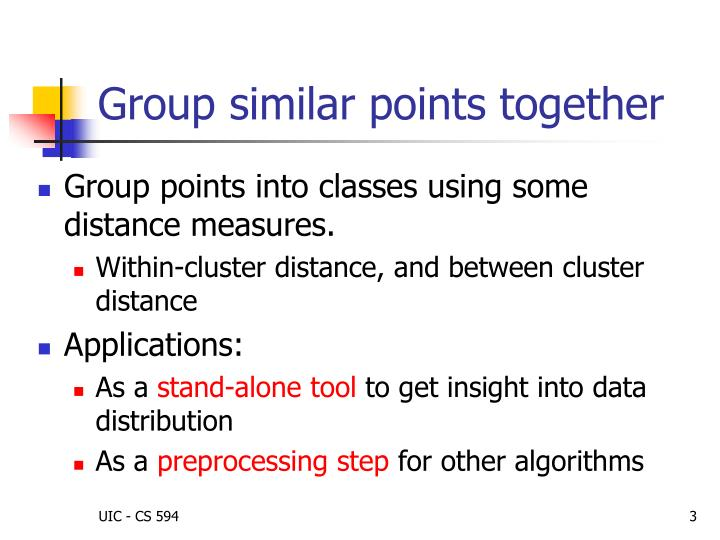 Group similar points together