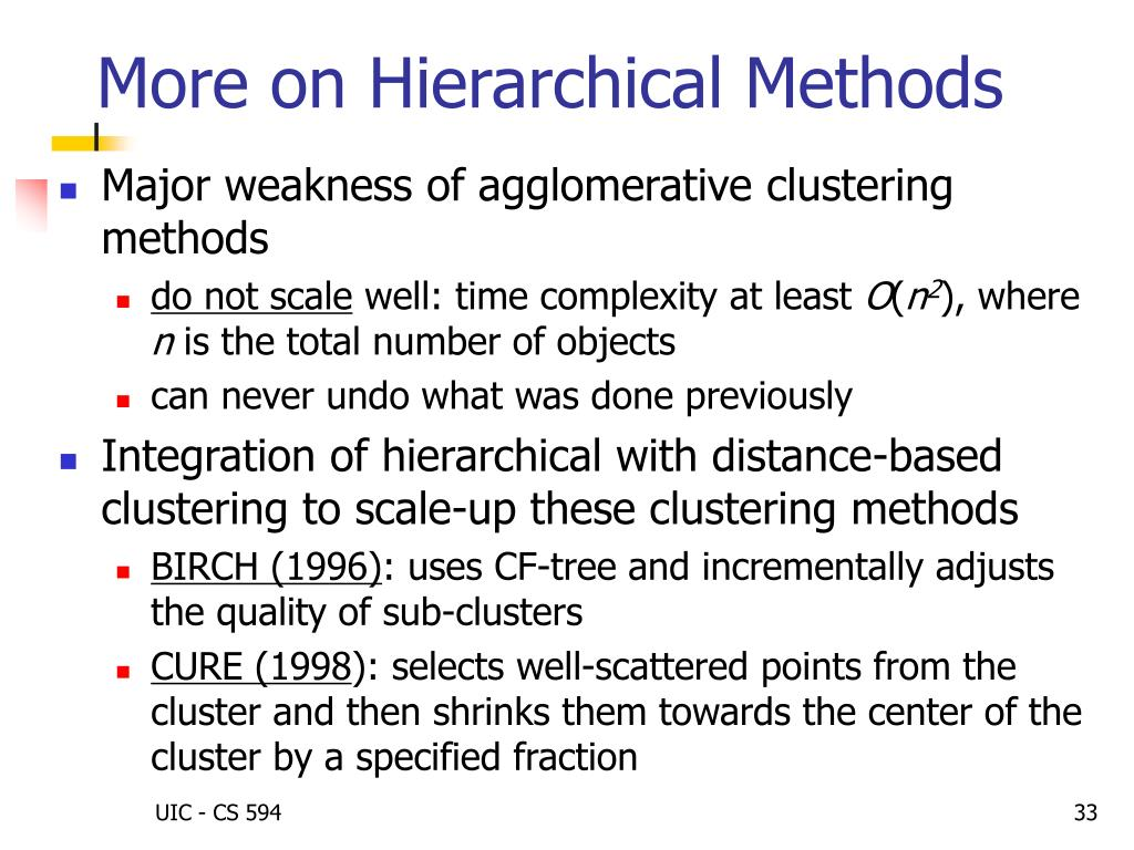 More on Hierarchical Methods