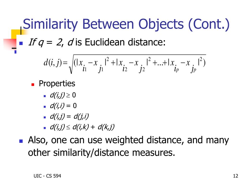 Similarity Between Objects (Cont.)