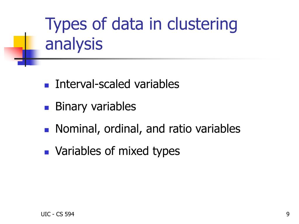 Types of data in clustering analysis