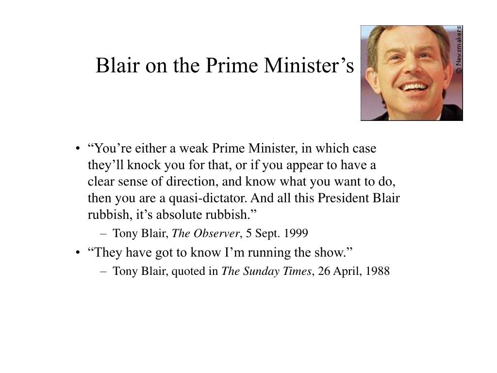 Blair on the Prime Minister's Role