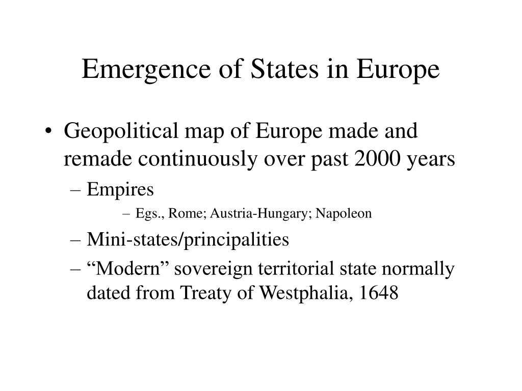 Emergence of States in Europe