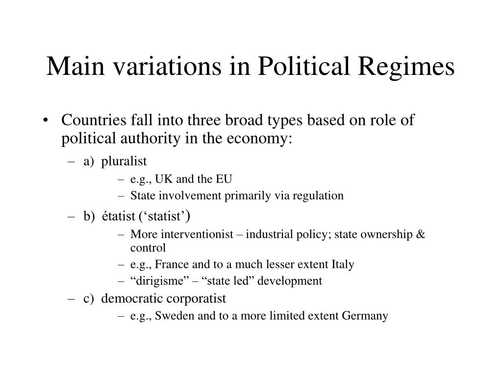 Main variations in Political Regimes