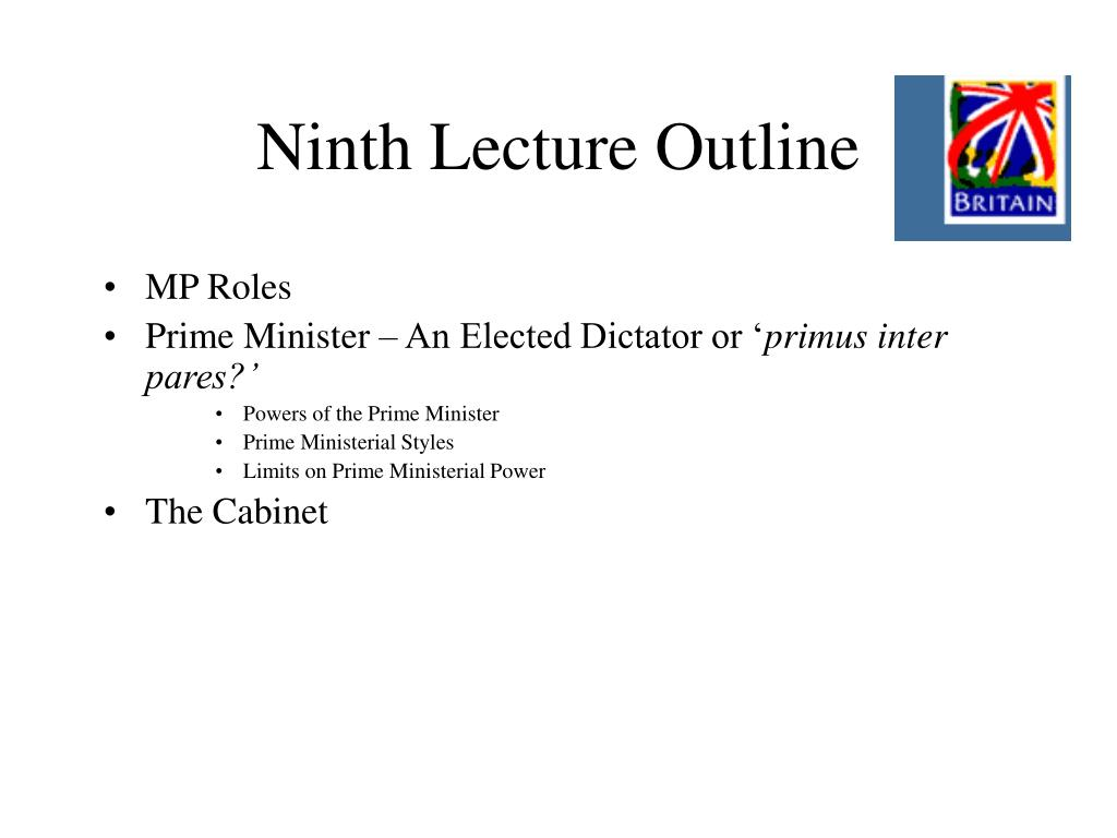 Ninth Lecture Outline