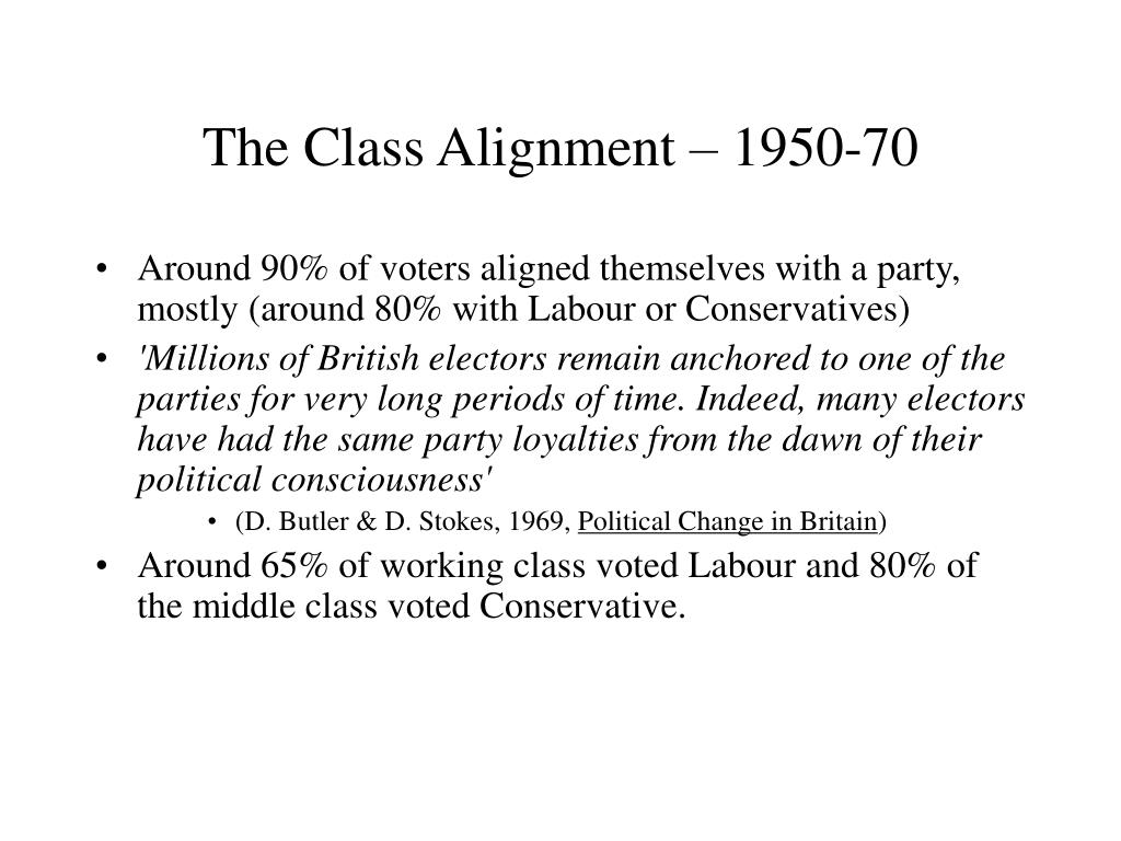 The Class Alignment – 1950-70