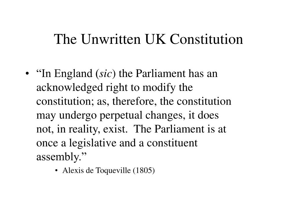 The Unwritten UK Constitution