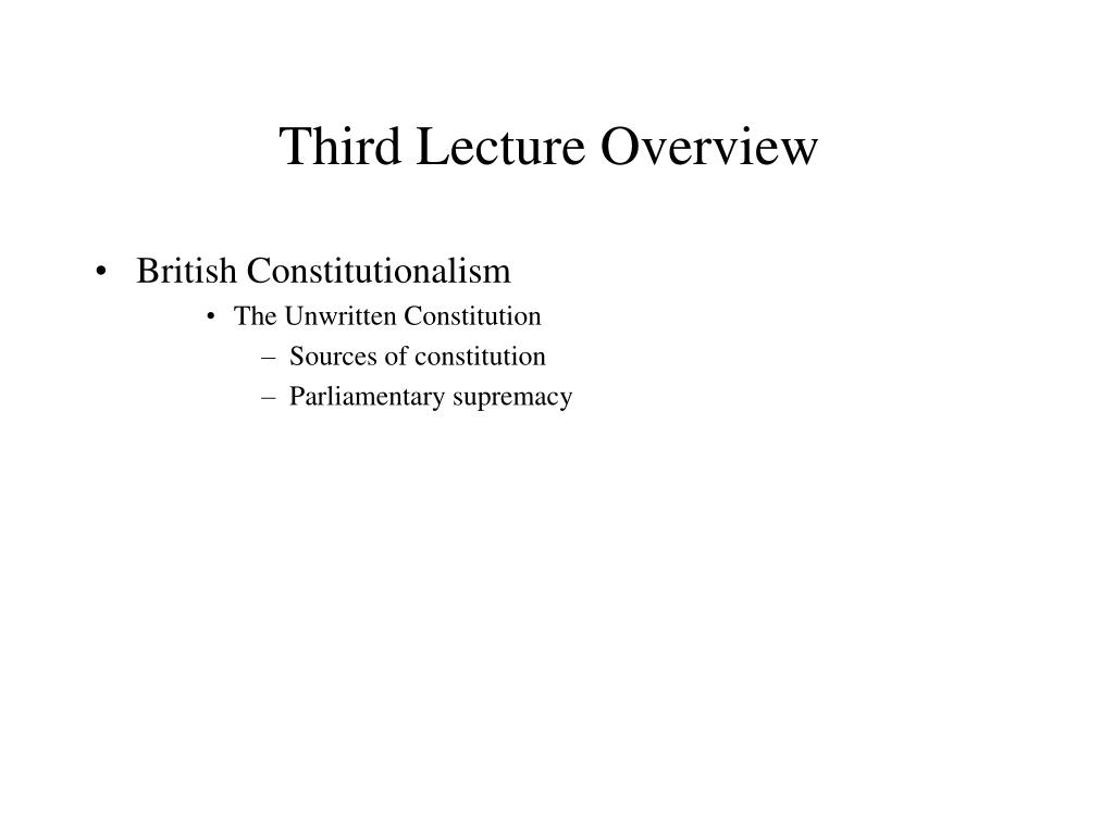 Third Lecture Overview
