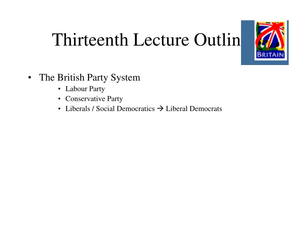 Thirteenth Lecture Outline