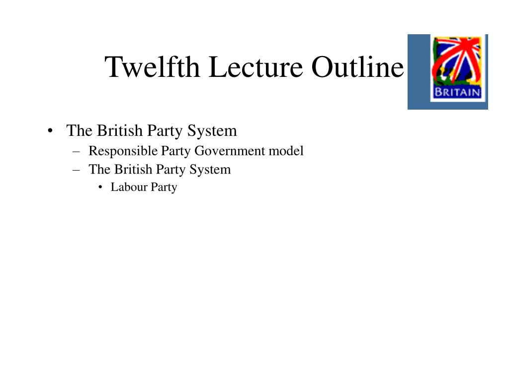 Twelfth Lecture Outline