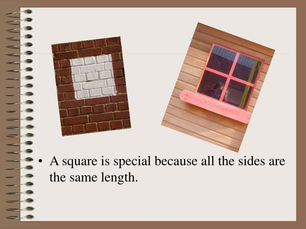 A square is special because all the sides are the same length.