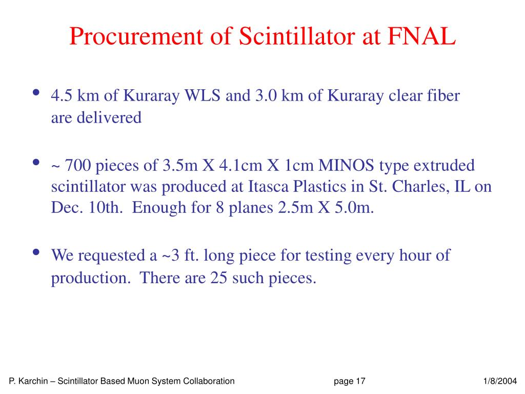 Procurement of Scintillator at FNAL