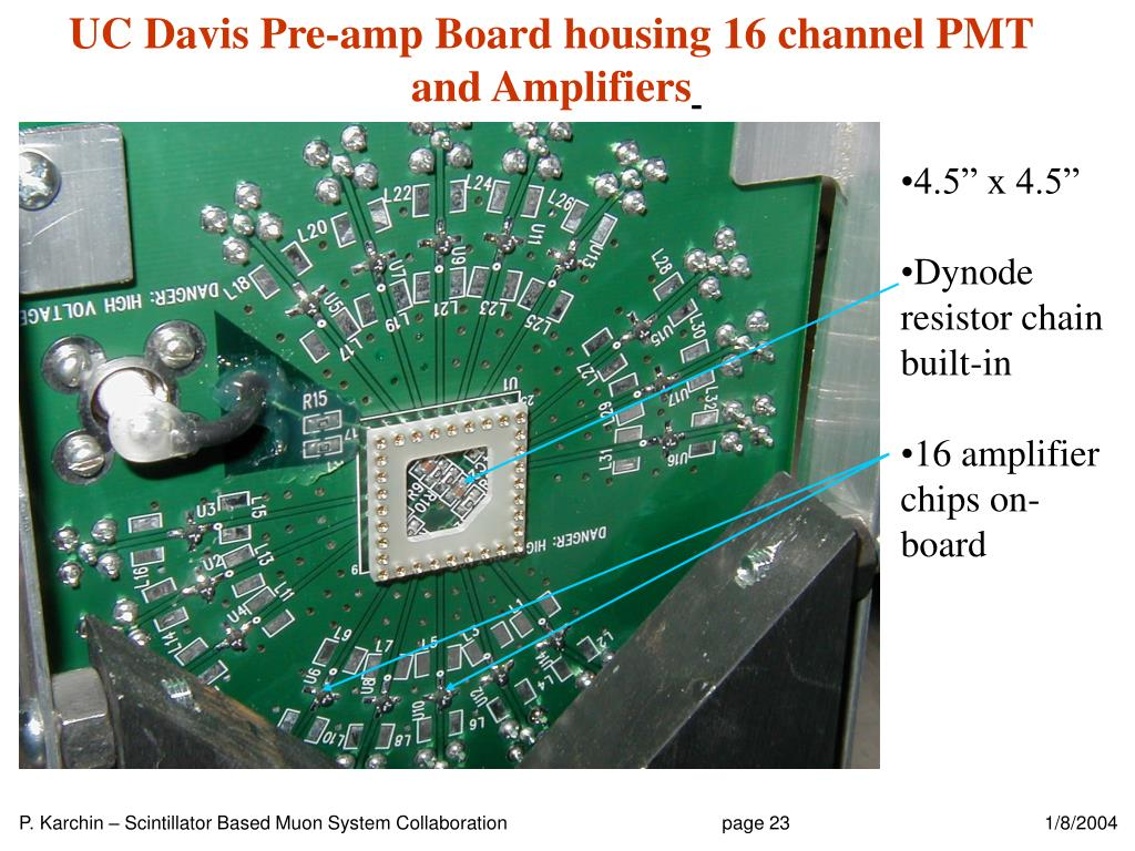 UC Davis Pre-amp Board housing 16 channel PMT