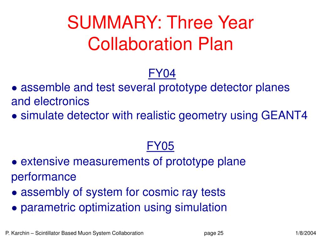 SUMMARY: Three Year Collaboration Plan
