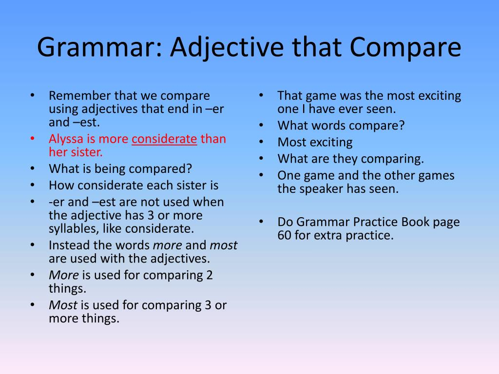 Grammar: Adjective that Compare