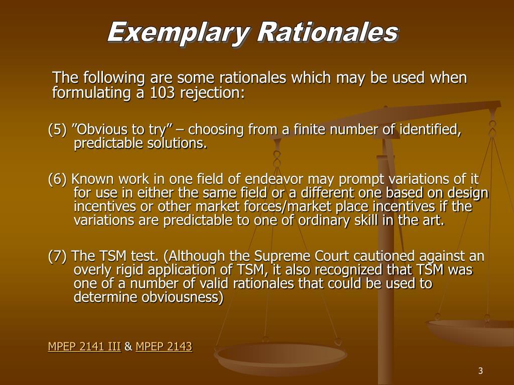 Exemplary Rationales