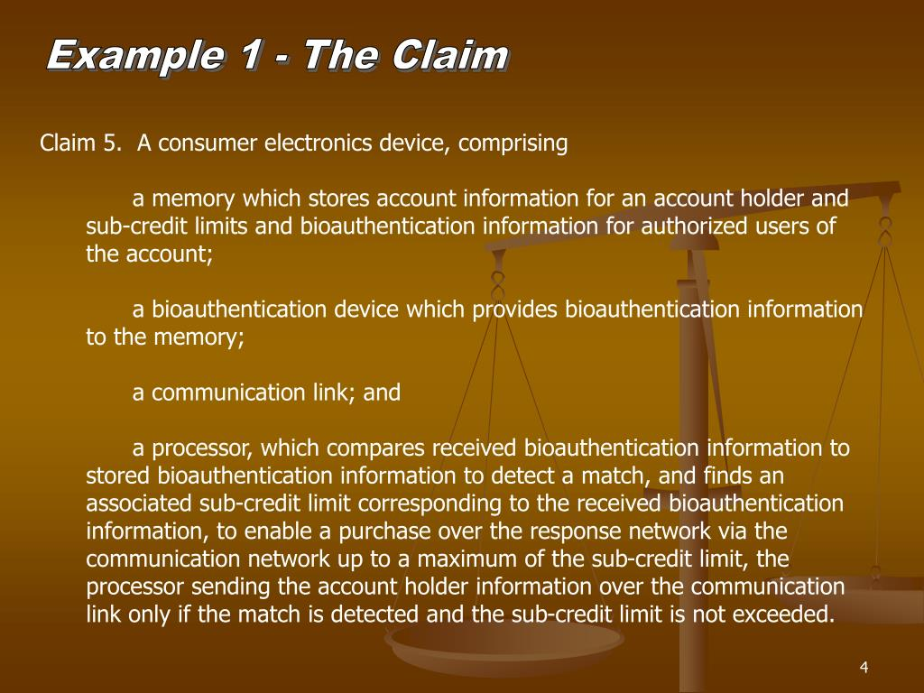 Example 1 - The Claim